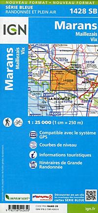 IGN Karte, Serie Bleue Marans Maillezais, Vix - Produktdetailbild 1
