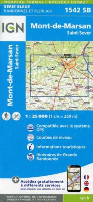 IGN Karte, Serie Bleue Mont-de-Marsan. St.-Severs