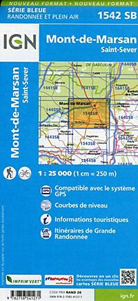 IGN Karte, Serie Bleue Mont-de-Marsan. St.-Severs - Produktdetailbild 1