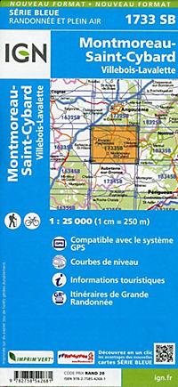 IGN Karte, Serie Bleue Montmoreau, St-Cybard, Villebois-Lavalette - Produktdetailbild 1