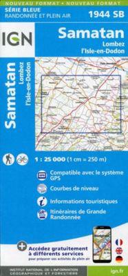 IGN Karte, Serie Bleue Samatan, Lombez, L'Isle-en-Dodon