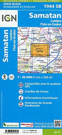 IGN Karte, Serie Bleue Samatan, Lombez, L'Isle-en-Dodon - Produktdetailbild 1
