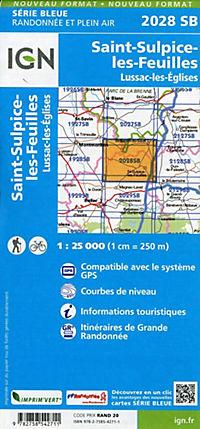 IGN Karte, Serie Bleue St-Sulpice-les-Feuilles.Lussac-les-Églises - Produktdetailbild 1