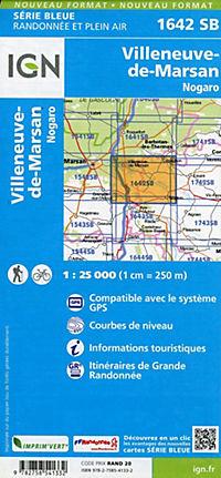 IGN Karte, Serie Bleue Villeneuve de Marsan, Nogaro - Produktdetailbild 1