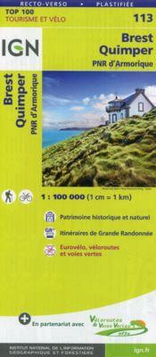 IGN Karte, Tourisme et vélo Brest Quimper, PNR d'Amorique