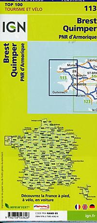 IGN Karte, Tourisme et vélo Brest Quimper, PNR d'Amorique - Produktdetailbild 1