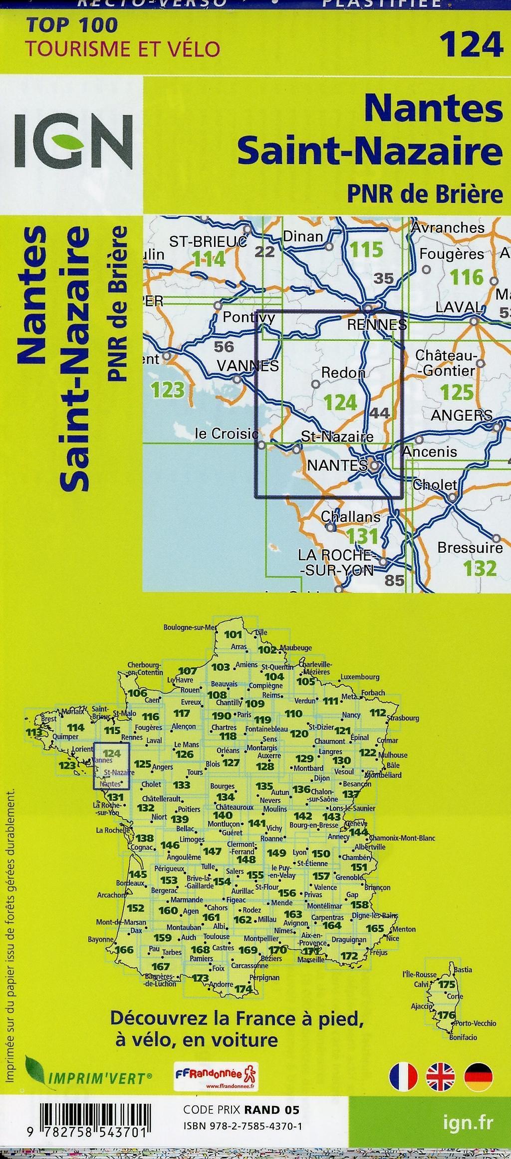 Nantes Karte.Ign Karte Tourisme Et Vélo Nantes Saint Nazaire Buch Weltbild De