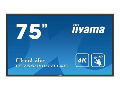 IIYAMA ProLite TE7568MIS-B1AG 189,2cm 75 Zoll 20-Points Touch Screen 3840x2160 IPS-Direct LED panel Full Metal Housing