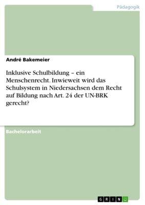 Inklusive Schulbildung – ein Menschenrecht. Inwieweit wird das Schulsystem in Niedersachsen dem Recht auf Bildung nach Art. 24 der UN-BRK gerecht?, André Bakemeier
