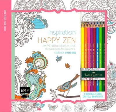 Inspiration Happy Zen: 50 fröhliche Motive und Ornamente kolorieren, m. 8 Faber-Castell-Buntstiften, Edition Michael Fischer