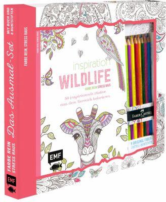 Inspiration Wildlife - 50 inspirierende Motive aus dem Tierreich kolorien, m. 8 Faber-Castell-Buntstiften, Edition Michael Fischer
