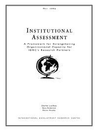 Institutional Assessment, Gary Anderson, Charles Lusthaus, Elaine Murphy
