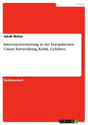Interessenvertretung in der Europäischen Union: Entwicklung, Kritik, Gefahren, Jakob Weber