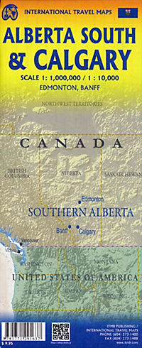 International Travel Map ITM Stadtplan Calgary & South Alberta - Produktdetailbild 1