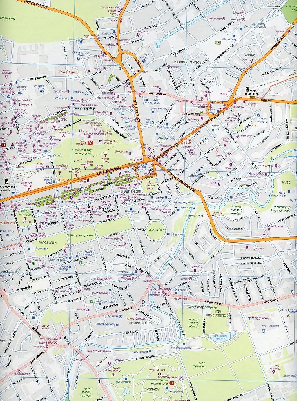 International Travel Map ITM Stadtplan Edinburgh & South ...