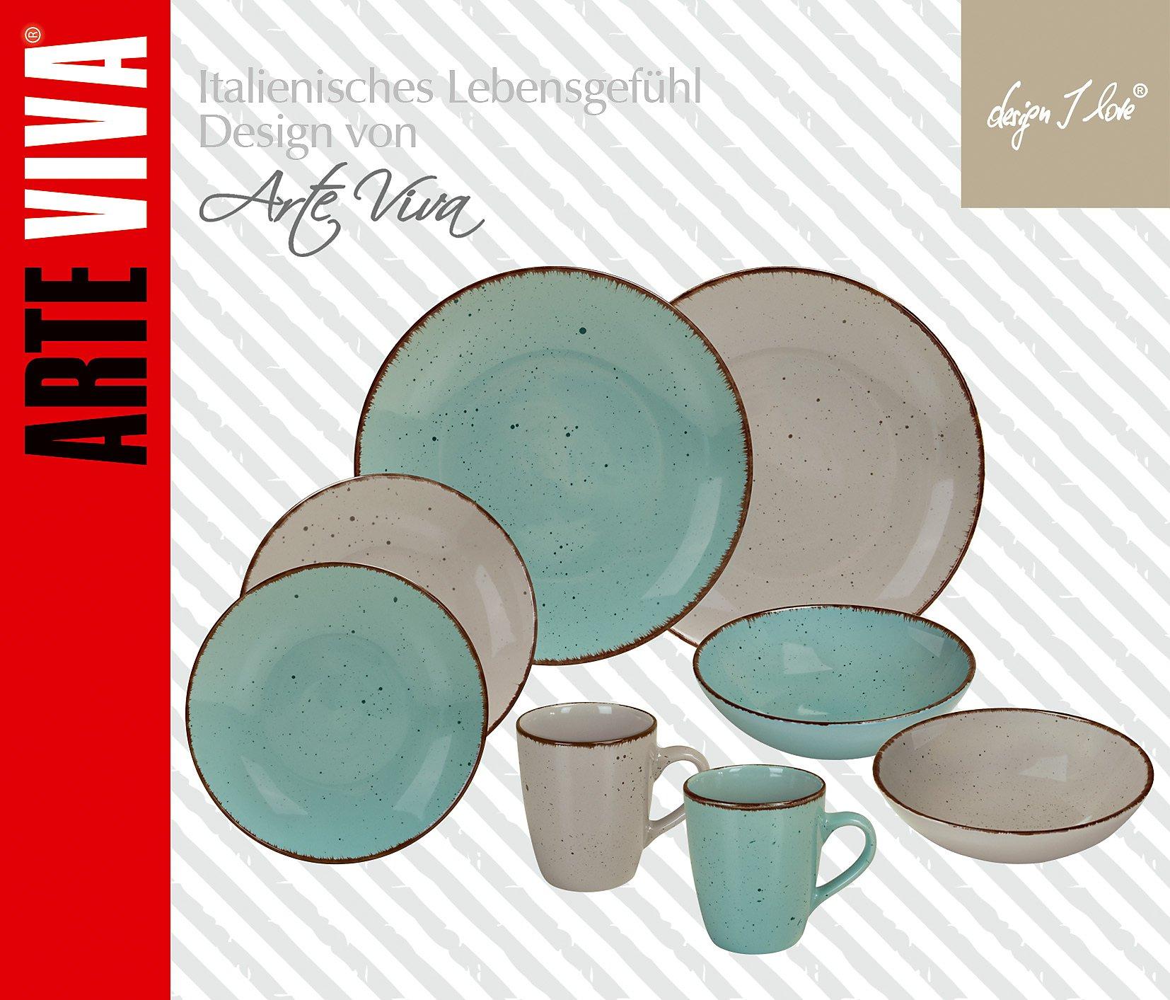 kaffee und tafelservice puro blau beige 16tlg. Black Bedroom Furniture Sets. Home Design Ideas