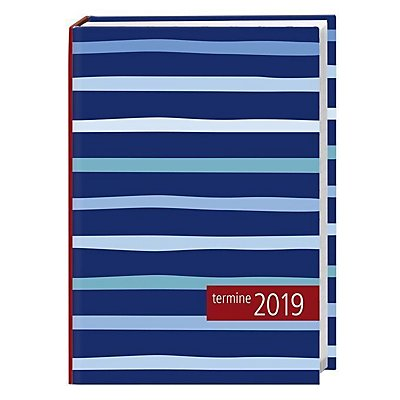 kalenderbuch streifen blau 2019 kalender bei. Black Bedroom Furniture Sets. Home Design Ideas