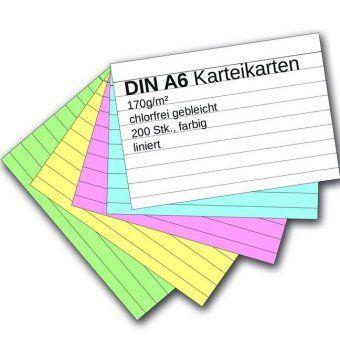 Karteikarten 200 Stück A6 farbig liniert