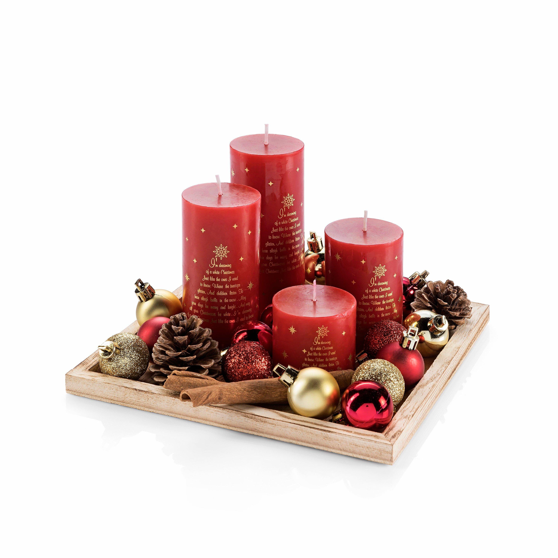 adventsgesteck weihnachten tablett deko hirsch gold rosa. Black Bedroom Furniture Sets. Home Design Ideas