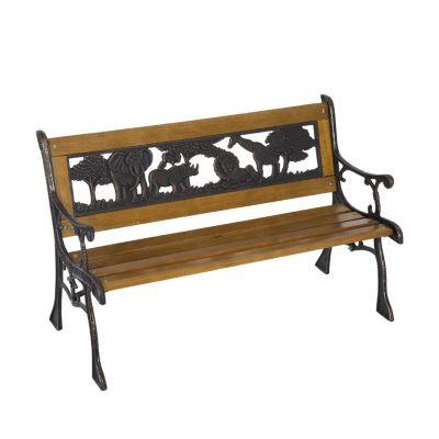 Kinder Gartenbank im nostalgischen Stil (Farbe: braun, schwarz, Größe: 83 x 40 x 49 cm (LxBxH))