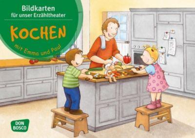 Kochen mit Emma und Paul. Kamishibai Bildkartenset - Monika Lehner  