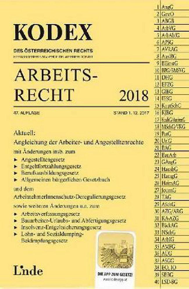 Kodex Arbeitsrecht 2018 F österreich Buch Portofrei Weltbildat