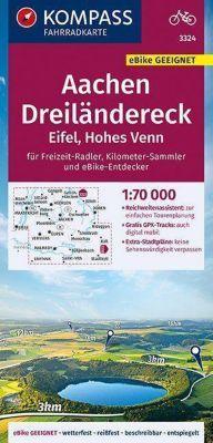 KOMPASS Fahrradkarte Aachen, Dreiländereck, Eifel, Hohes Venn 1:70.000