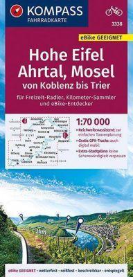 KOMPASS Fahrradkarte Hohe Eifel, Ahrtal, Mosel, von Koblenz bis Trier 1:70.000