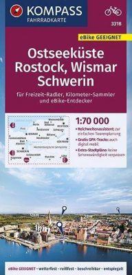KOMPASS Fahrradkarte Ostseeküste, Rostock, Wismar, Schwerin 1:70.000