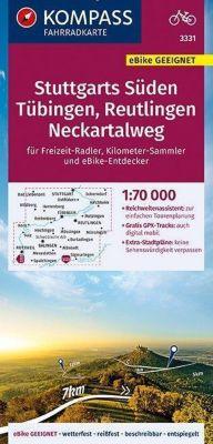 KOMPASS Fahrradkarte Stuttgarts Süden, Tübingen, Reutlingen, Neckartalweg 1:70.000