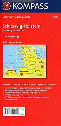 Kompass Grossraum-Radtourenkarte Schleswig-Holstein, Hamburg, Ostfriesland, 2 Bl. - Produktdetailbild 1