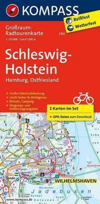 Kompass Grossraum-Radtourenkarte Schleswig-Holstein, Hamburg, Ostfriesland, 2 Bl.