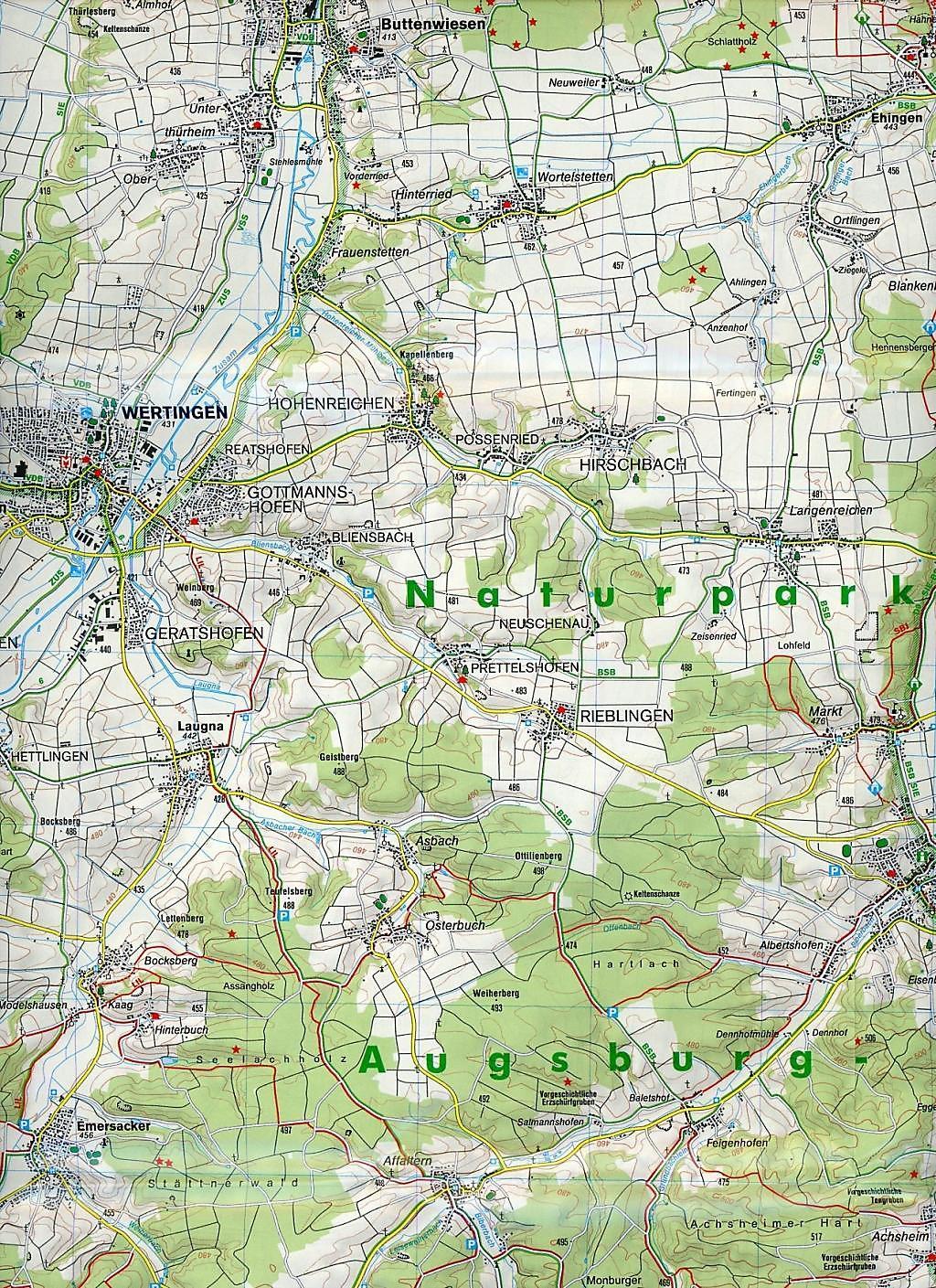 Karte Augsburg.Kompass Karte Augsburg Westliche Walder Buch Weltbild De