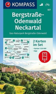 Kompass Karte Bergstraße-Odenwald, Neckartal, Geo-Naturpark Bergstraße-Odenwald, 2 Bl.