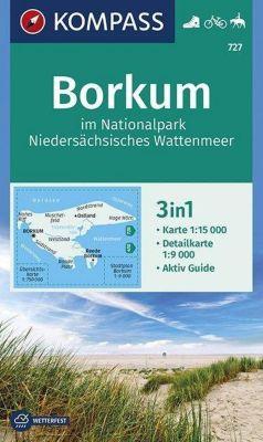 Kompass Karte Borkum im Nationalpark Niedersächsisches Wattenmeer