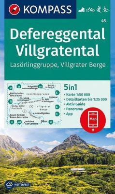 Kompass Karte Defereggental, Villgratental, Lasörlinggruppe, Villgrater Berge