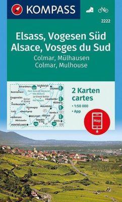 Kompass Karte Elsass, Vogesen Süd, Alsace, Vosges du Sud, Colmar, Mülhausen, Mulhouse, 2 Bl.