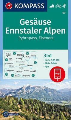 Kompass Karte Gesäuse, Ennstaler Alpen, Pyhrnpass, Eisenerz