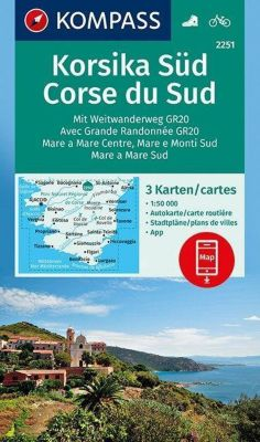 Kompass Karte Korsika Süd, Corse du Sud, Weitwanderweg GR20, 3 Bl.