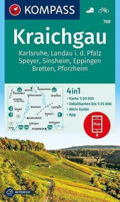 Kompass Karte Kraichgau, Karlsruhe, Landau i. d. Pfalz, Speyer, Sinsheim, Eppingen, Bretten, Pforzheim