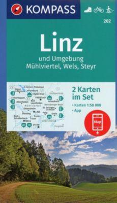Kompass Karte Linz und Umgebung, Mühlviertel, Wels, Steyr