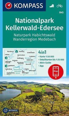 Kompass Karte Nationalpark Kellerwald-Edersee, Naturpark Habichtswald, Wanderregion Medebach