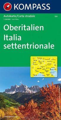 Kompass Karte Oberitalien, Italia settentrionale, Northern Italy, Italie du Nord