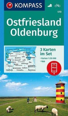Kompass Karte Ostfriesland, Oldenburg, 3 Bl.