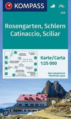 Kompass Karte Rosengarten, Schlern, Catinaccio, Sciliar