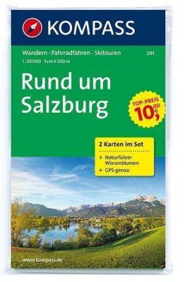 Kompass Karte Rund um Salzburg, 2 Bl. m. Kompass Naturführer Wiesenblumen