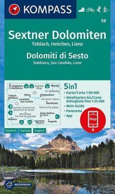 Kompass Karte Sextner Dolomiten, Dolomit di Sesto, Toblach, Dobbiaco, Innichen, San Candido, Lienz