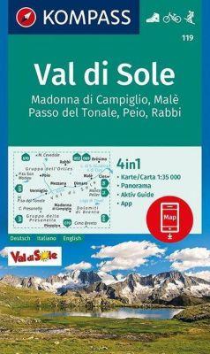 Kompass Karte Val di Sole, Madonna di Campiglio, Malè, Passo del Tonale, Peio, Rabbi