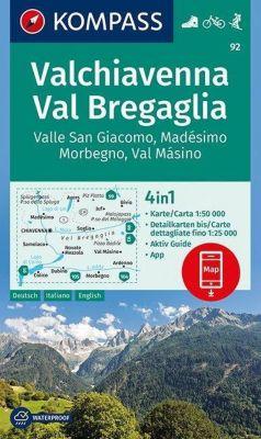Kompass Karte Valchiavenna, Val Bregaglia, Valle San Giacomo, Madésimo, Morbegno, Val Másino