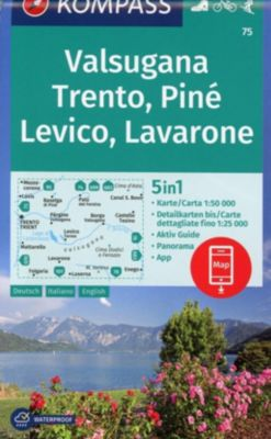 Kompass Karte Valsugana, Trento, Piné, Levico, Lavarone